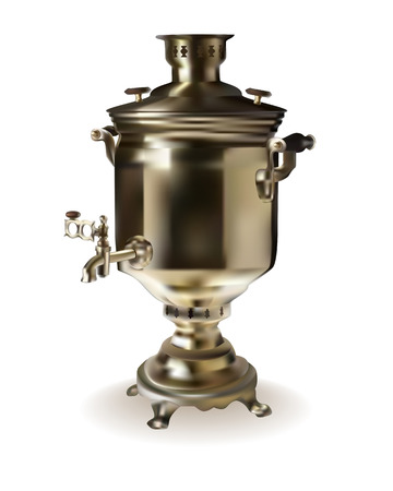 decorative urn: Russian brass samovar on a white background