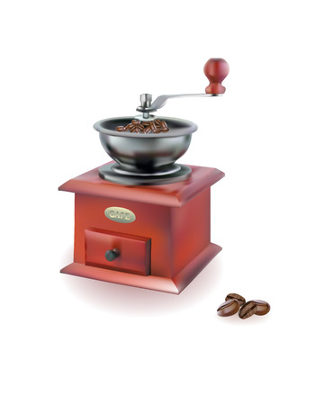 metall: coffee grinder with coffee beans on white background Illustration