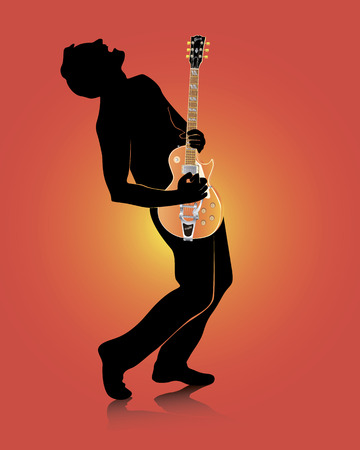 guitarist with an electric guitar on a red background Vector