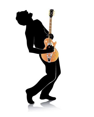 guitariste: silhouette d'une guitare avec une guitare �lectrique sur fond blanc Illustration