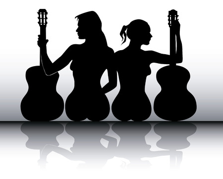 silhouettes of girls with guitars on a gray background Stock Vector - 8802361