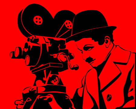 cinematographer: drawing an old cinematographer on a red background