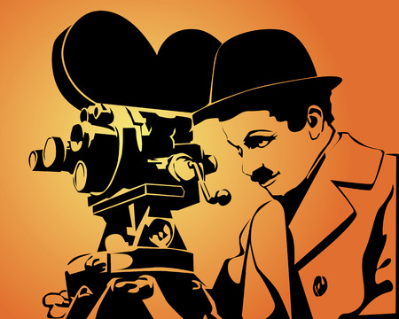 camera film: drawing an old cinematographer on an orange background Illustration