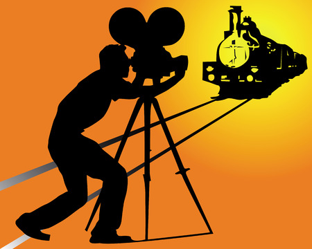camera film: silhouette of a cameraman filming a train on an orange background