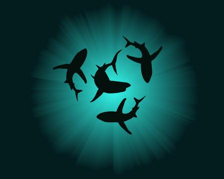 tiburones: siluetas de tiburones en el fondo del agua