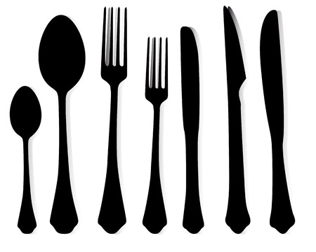 ablespoons of forks and knives on a white background
