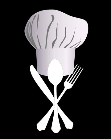 chefs hat with a knife, spoon and fork on a black background Illustration