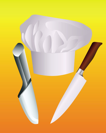 chef's hat with two knives on an orange background Stock Vector - 8802407