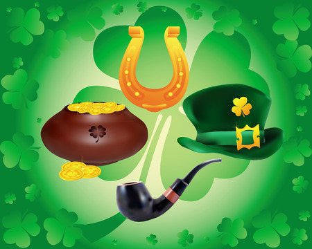 items to St. Patrick's Day on a green background Stock Vector - 8902170