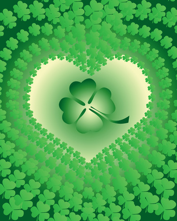 leaf clover leaves edged in view of the heart on a green background Vector