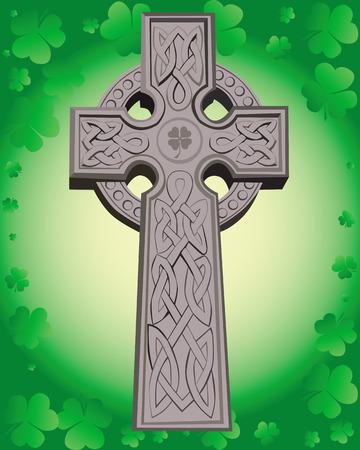 celtic mythology: Celtic cross on a green background leaf clover