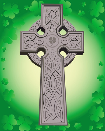 Celtic cross on a green background leaf clover