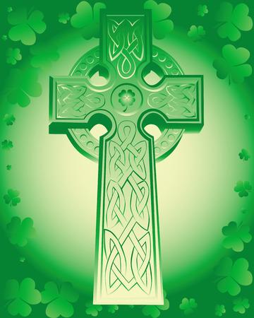 green Celtic cross on a green background leaf clover