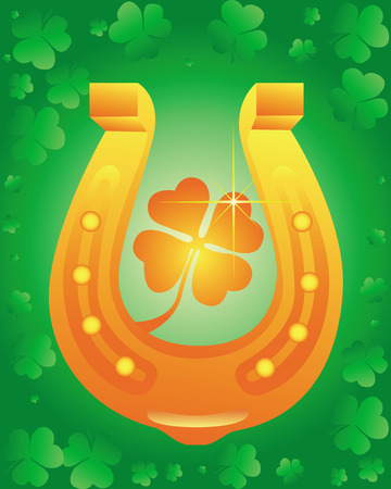 Golden Horseshoe with leaf clover on green background Stock Vector - 8902172