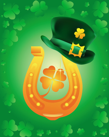 leprechaun hat wearing a gold horseshoe on a green background Stock Vector - 8902176