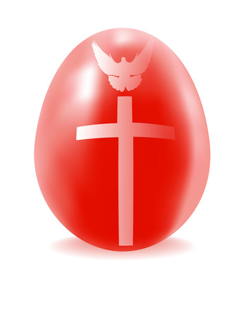 red cross red bird: red egg with a cross and dove on a white background Illustration