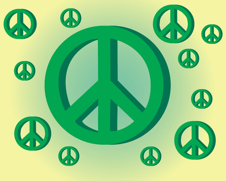 peace sign on yellow green background Stock Vector - 9123233