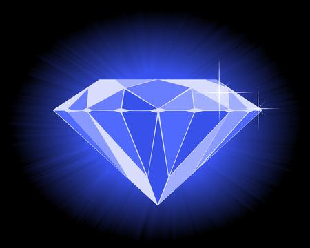 ダイヤモンド: 黒の背景に多面的なブルー ダイヤモンド  イラスト・ベクター素材