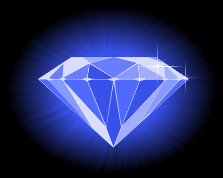 diamond stone: faceted blue diamond on an black background