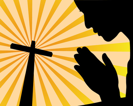 sol: praying before the cross on an orange background