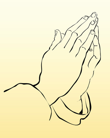 hand of god: praying hands on a yellow background