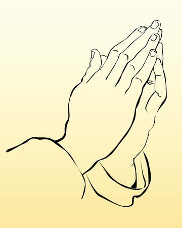mains pri�re: prier les mains sur un fond jaune Illustration