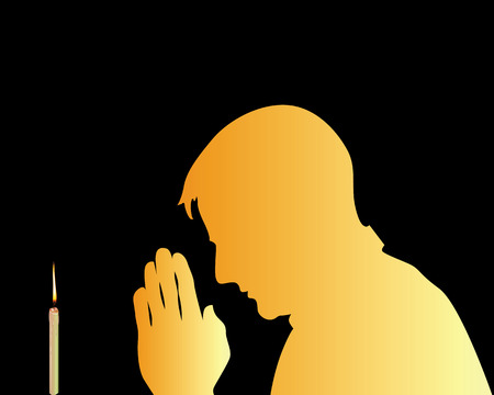sol: praying in front of a candle against a black background Illustration