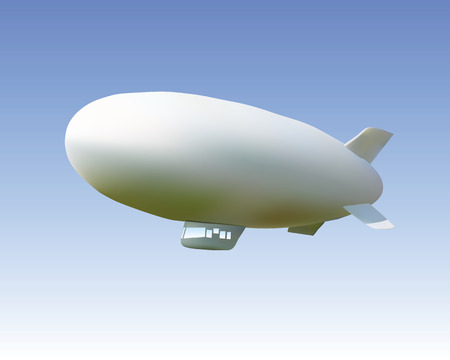 ballon dirigeable: dirigeable blanc contre le ciel bleu Illustration