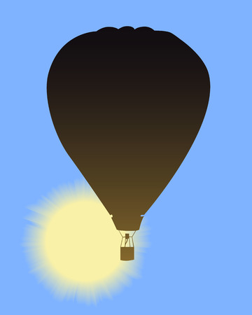 balloon with a basket on vone blue sky Vector