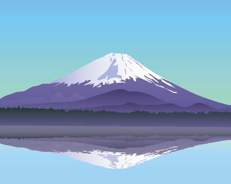 the sacred mountain of Fuji in the background of blue sky Stock Vector - 9123188