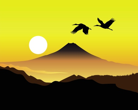 the sacred mountain of Fujiyama with two cranes on the background of an orange sky