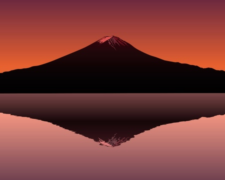 the sacred mountain of Fuji in the background of a red sunset Illustration