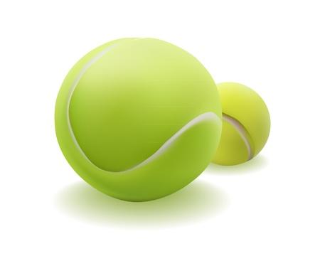 two balls for tennis on a white background Ilustração