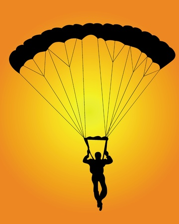 parachute: black silhouette of a jumper on an orange background Illustration