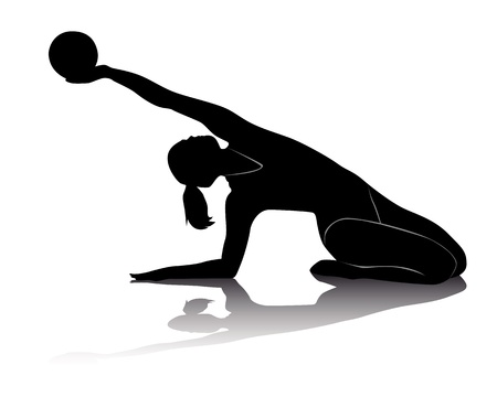 black silhouette of athletes in rhythmic gymnastics on a white background Vector