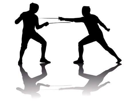 fencers: black silhouettes of athletes fencers on a white background Illustration