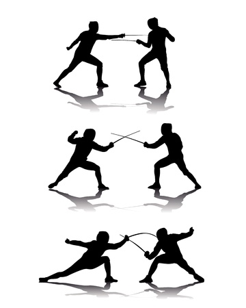 rapier: black silhouettes of athletes fencers on a white background Illustration