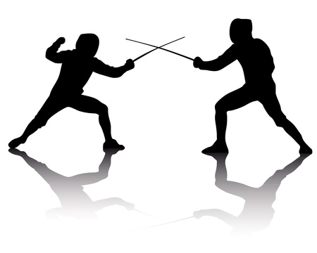 duel: black silhouettes of athletes fencers on a white background Illustration