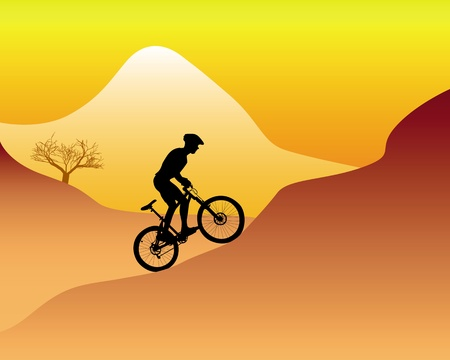 mountain biker: silhouette of a mountain biker riding down hill on an orange background