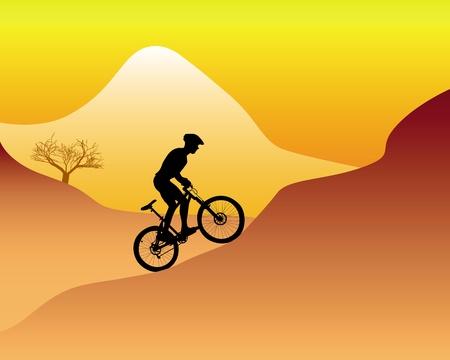 mountain bike: silhouette of a mountain biker riding down hill on an orange background