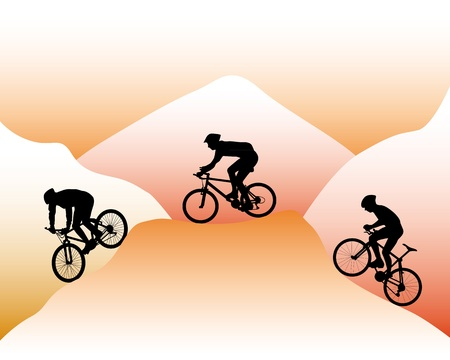 silhouettes of mountain bikers on a background of mountain slopes