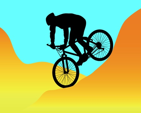 downhill: silhouette of a mountain biker riding in the mountains against the blue sky Illustration
