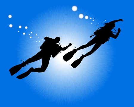 scuba diver: silhouettes of two divers swimming against the background of blue water