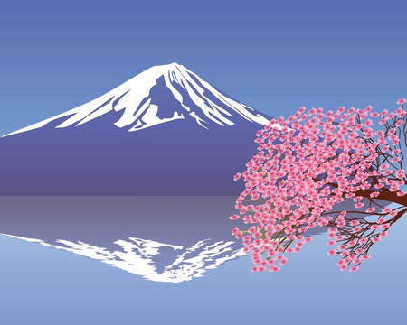 branches of cherry blossoms against the backdrop of Mount Fuji Illustration