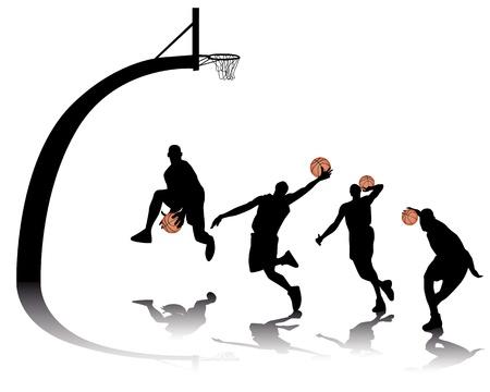 basketball silhouettes on white background