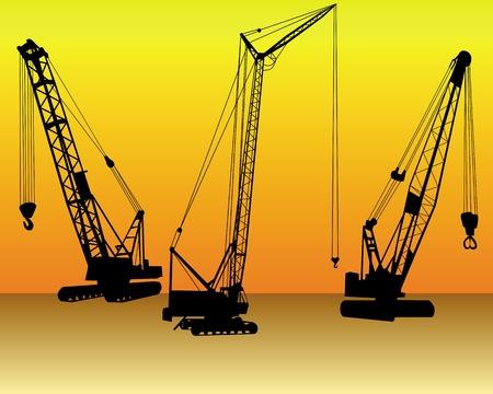 three cranes on an orange background Stock Vector - 9208714