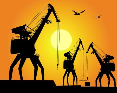 quay: three port cargo crane on an orange background
