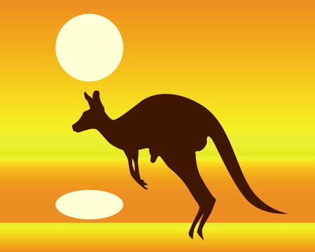 silhouette of a kangaroo on an orange background Stock Vector - 9338865