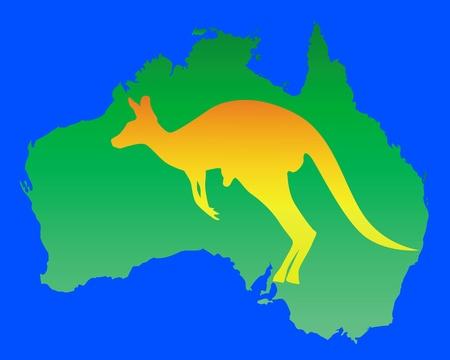 outback australia: orange kangaroo on a map of Australia Illustration