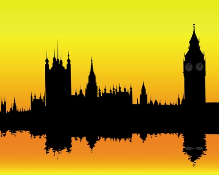 big ben tower: silhouette of the London landscape on an orange background Illustration